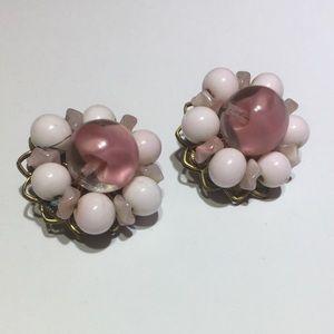 Vintage Original By Robert pink glass earrings